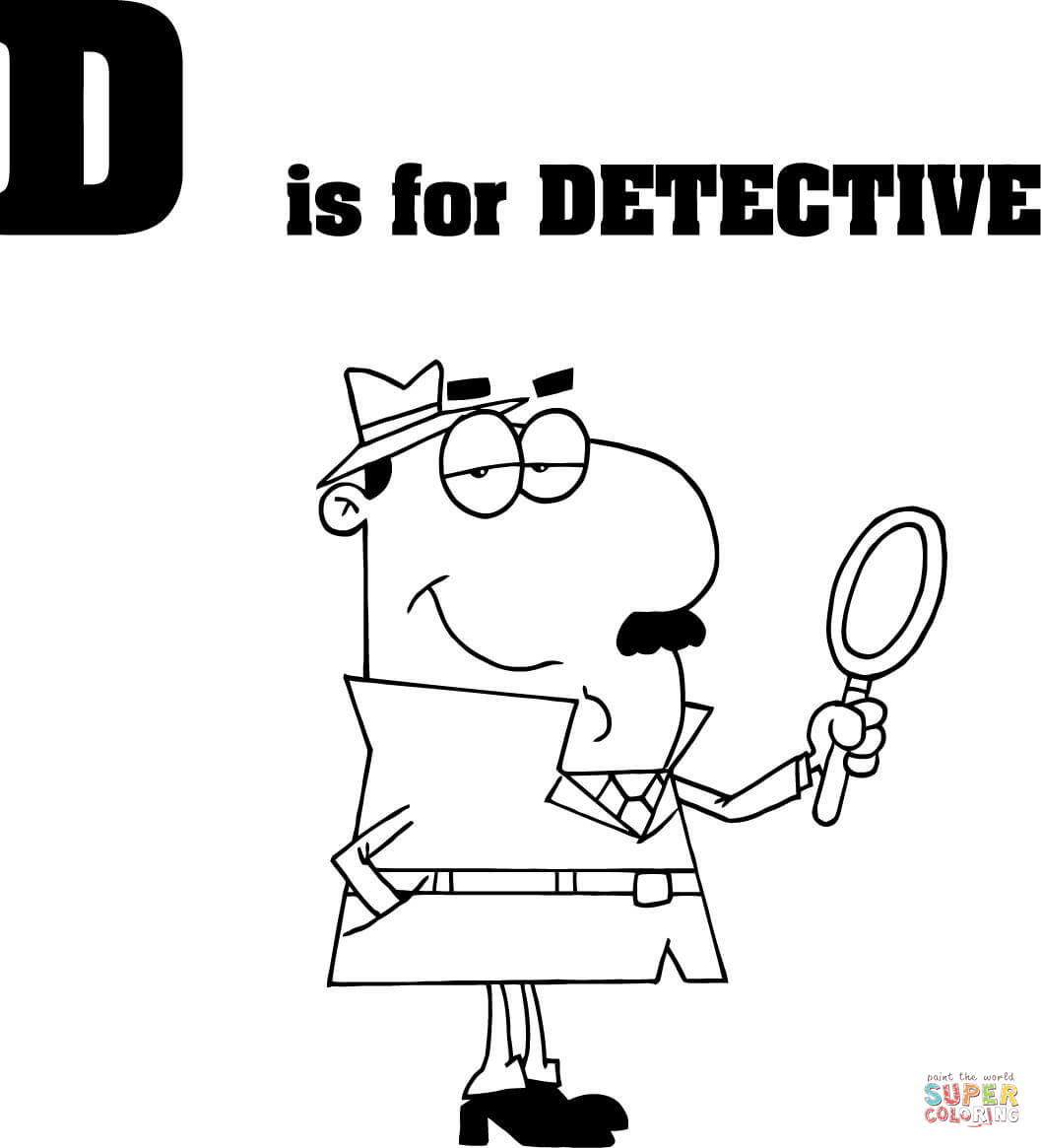 Letter D Is For Detective Coloring Page