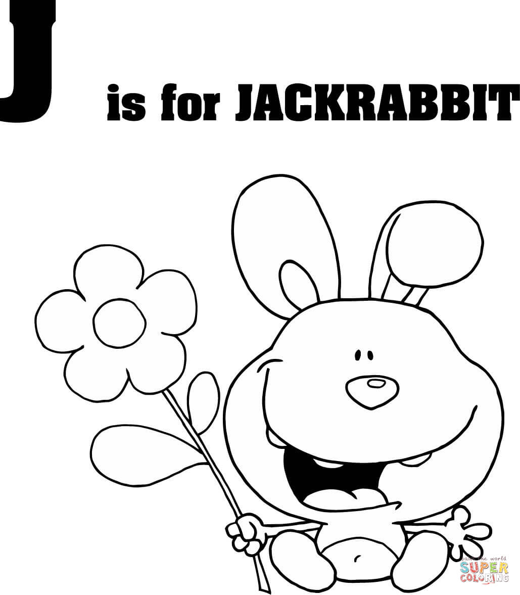 Letter J Is For Jackrabbit Coloring Page