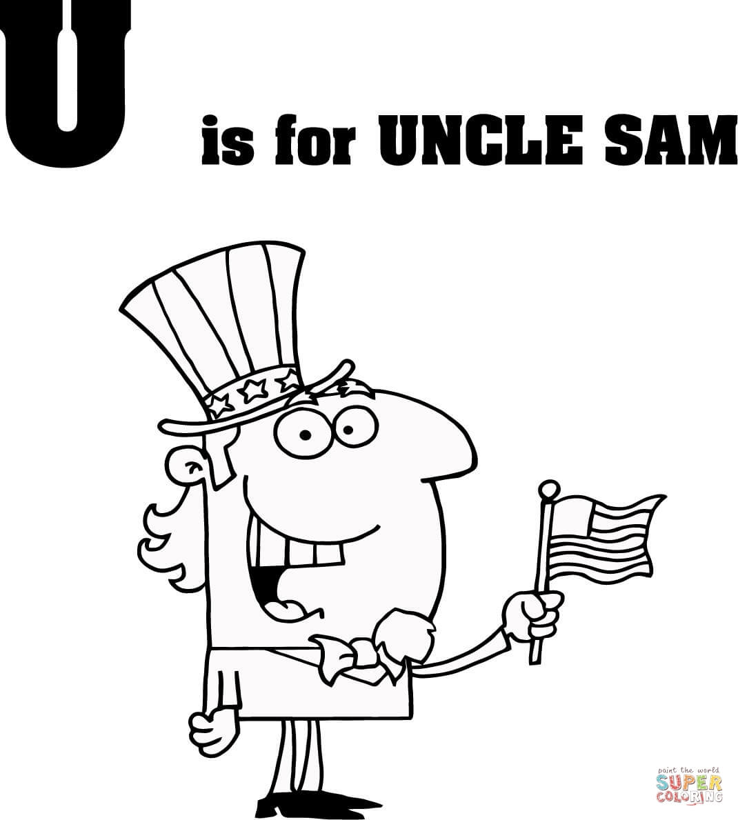 Letter U Is For Uncle Sam Coloring Page