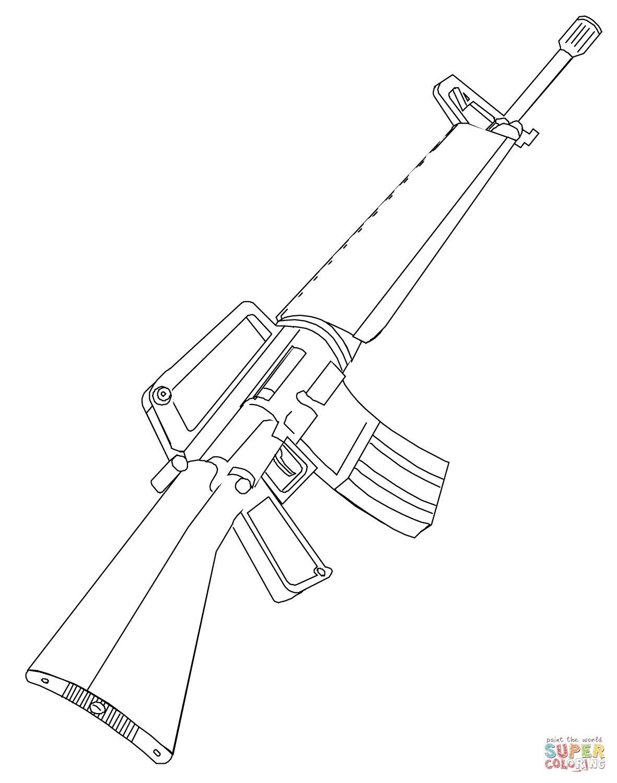 Dibujo De Rifle M16 Para Colorear