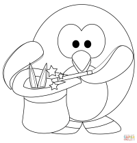 Magic Penguine coloring page | Free Printable Coloring Pages