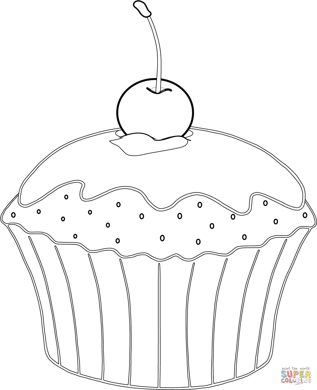 Ausmalbild Muffin mit Kirsche Ausmalbilder kostenlos