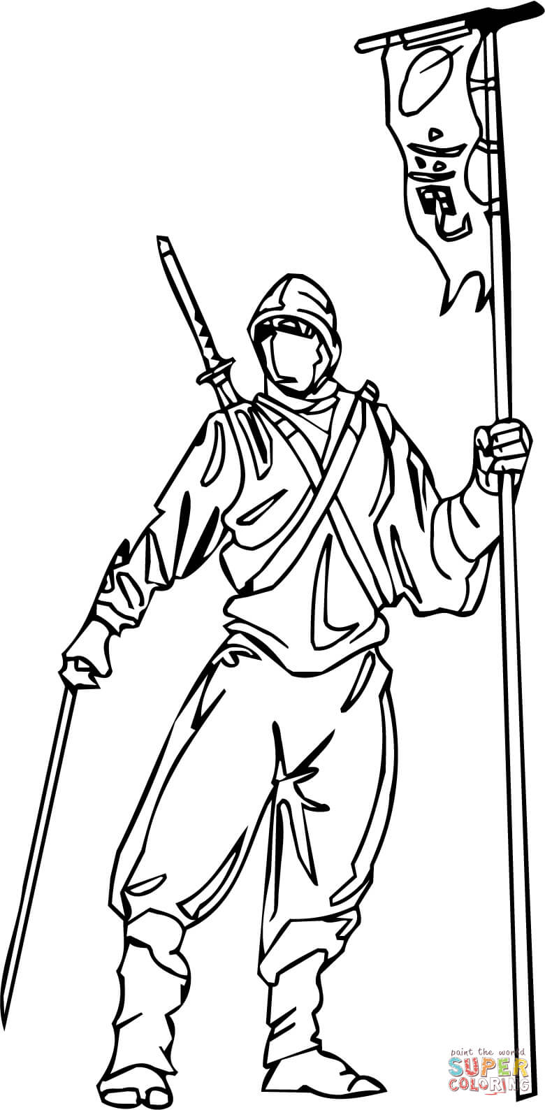 Ninja Standing Coloring Page Free Printable Coloring Pages