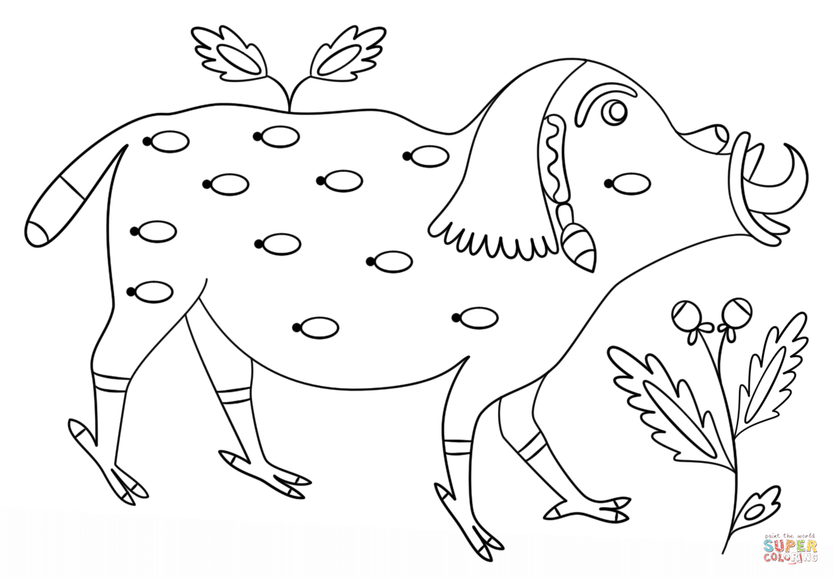 Pig By Maria Prymachenko Coloring Page