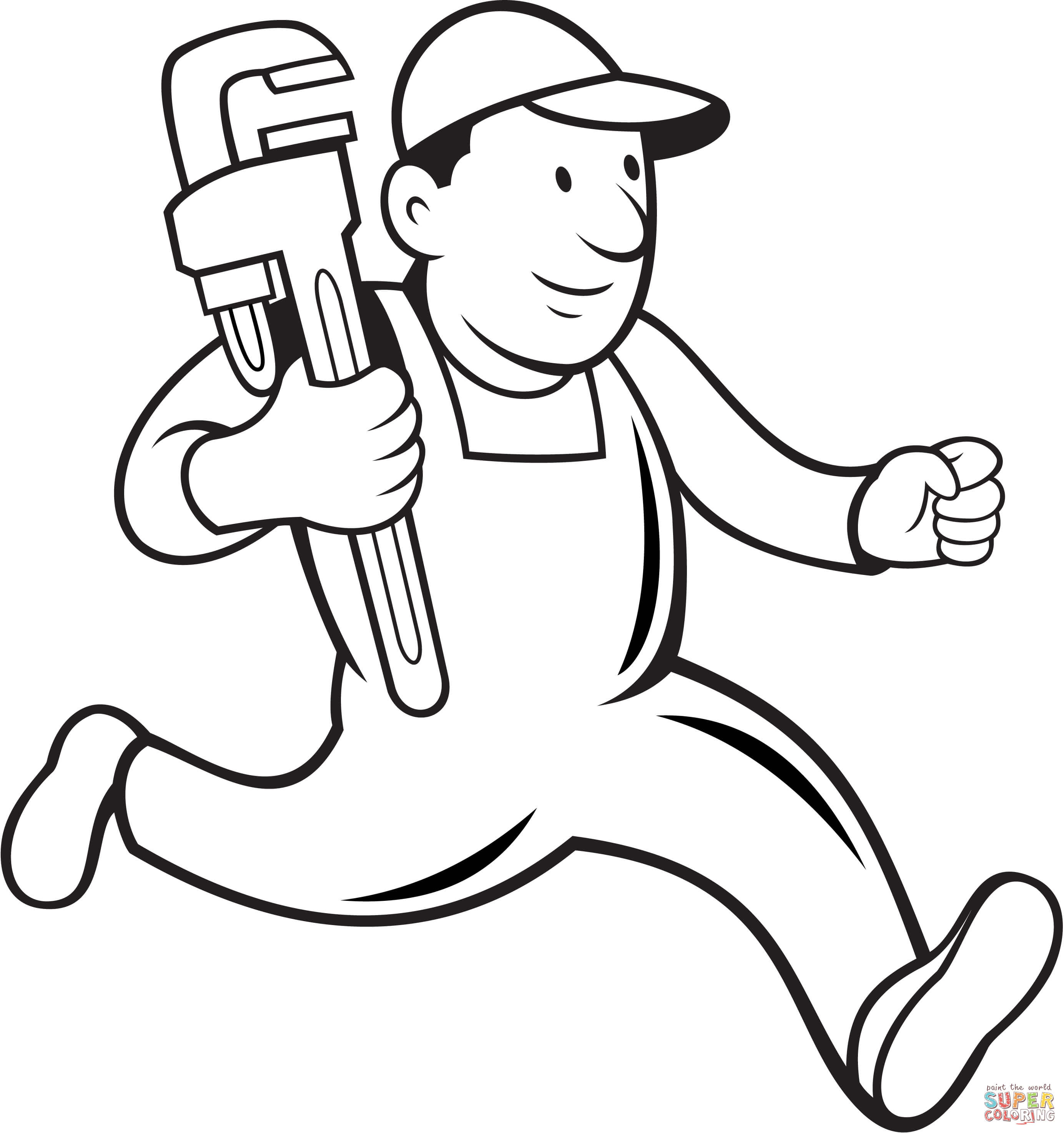 Plumber Running To Help Coloring Page