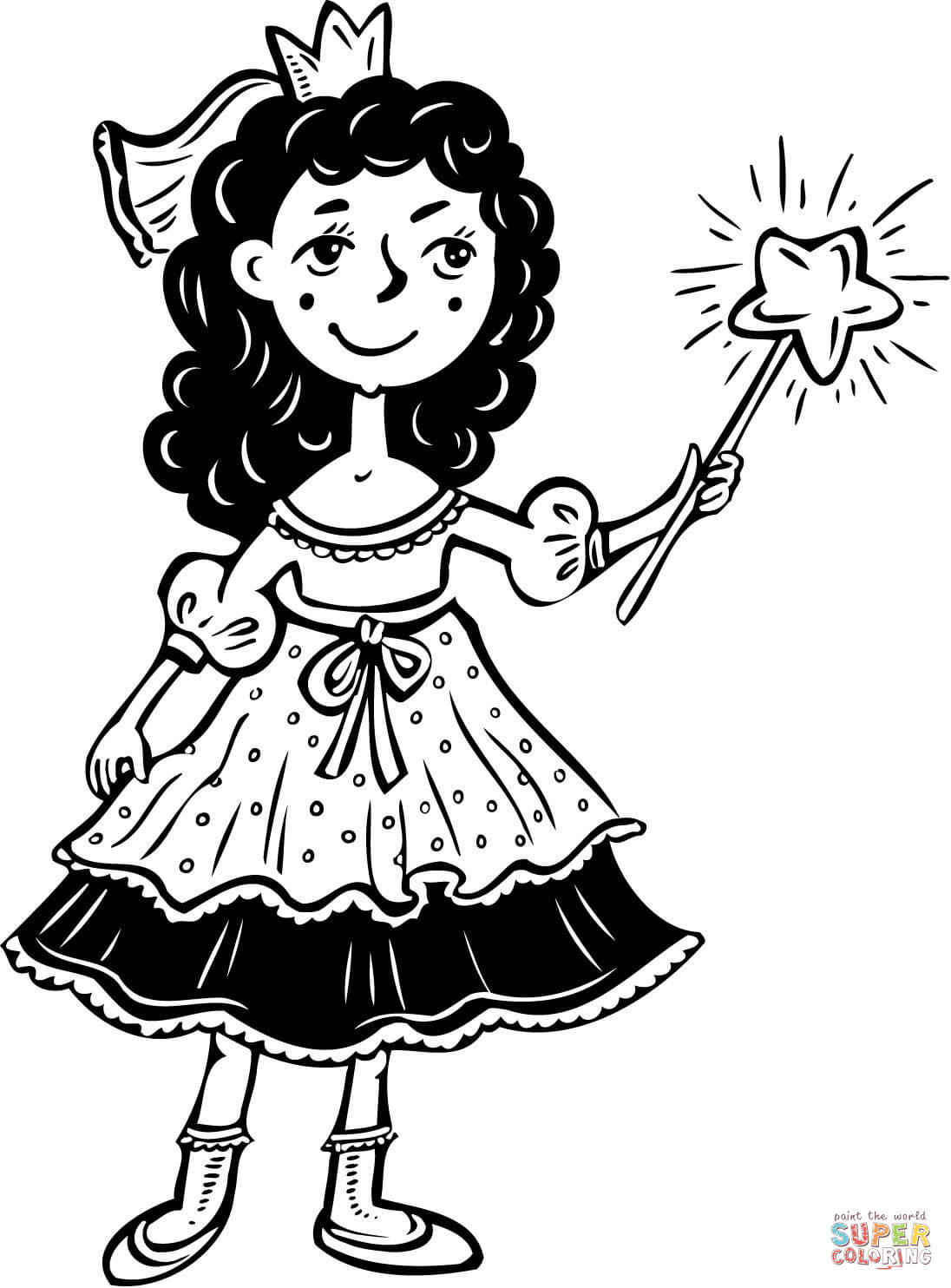 Princess Girl With Wand Coloring Page