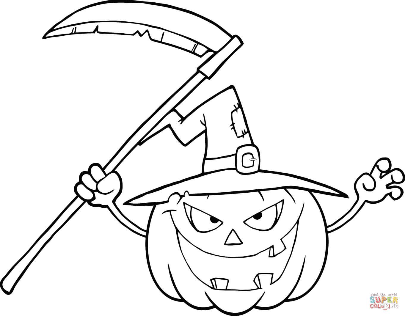 Dibujo De Terrorifica Calabaza De Halloween Con Sombrero De Bruja Y Guadana Para Colorear