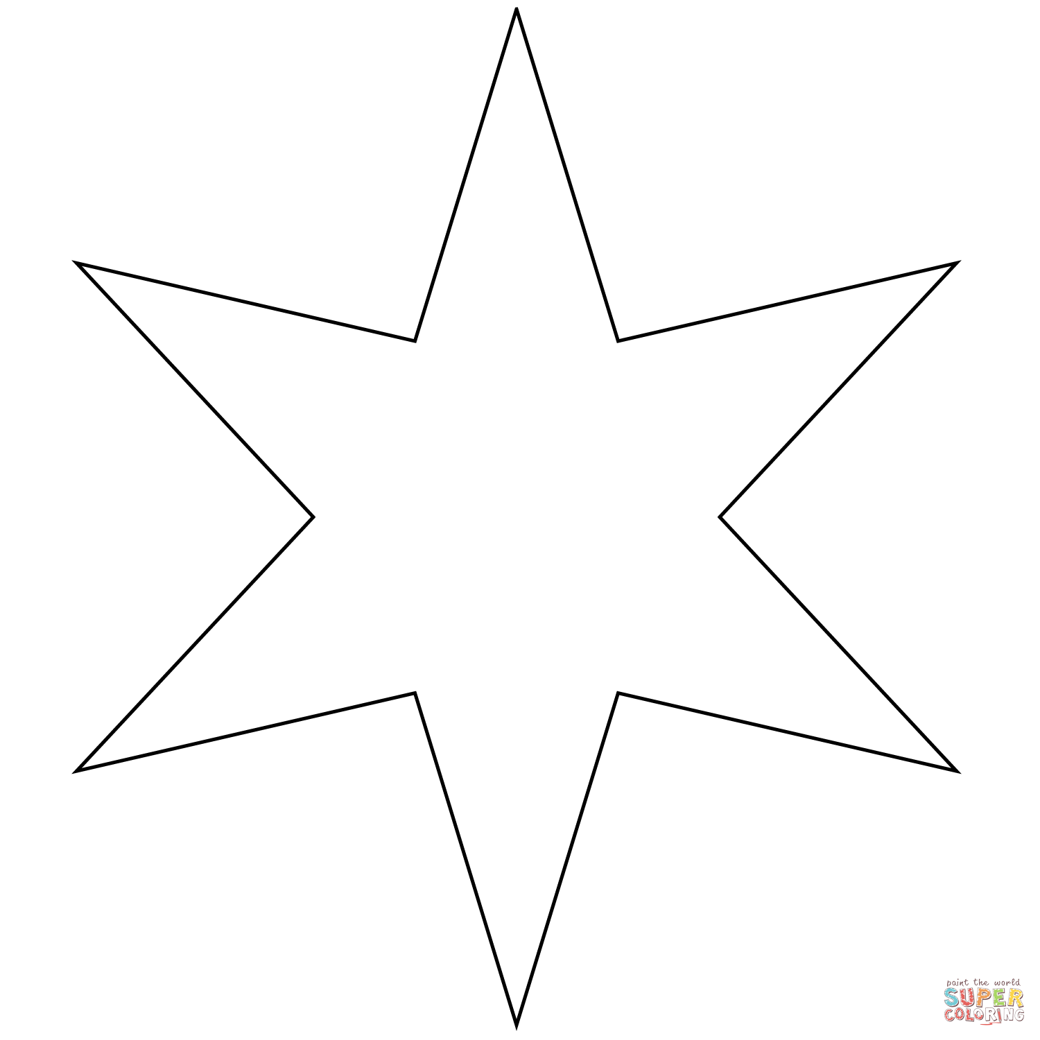 Six Pointed Star Coloring Page