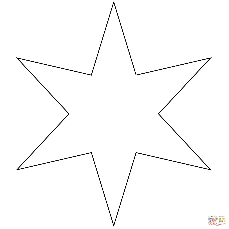 Ausmalbild Sechszackiger Stern