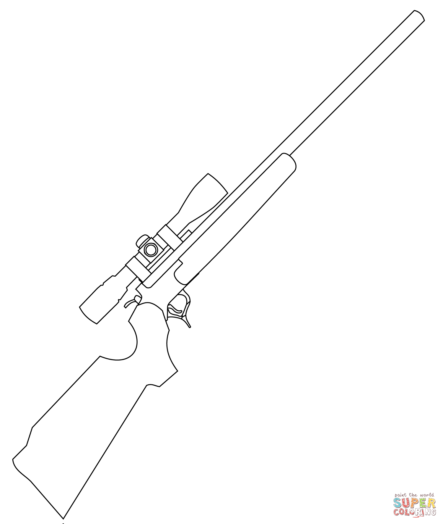 Sniper Rifle Coloring Page
