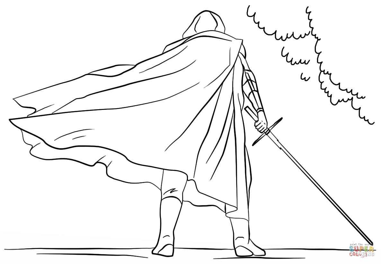 Dibujo de Kylo Ren con Espada Láser para colorear