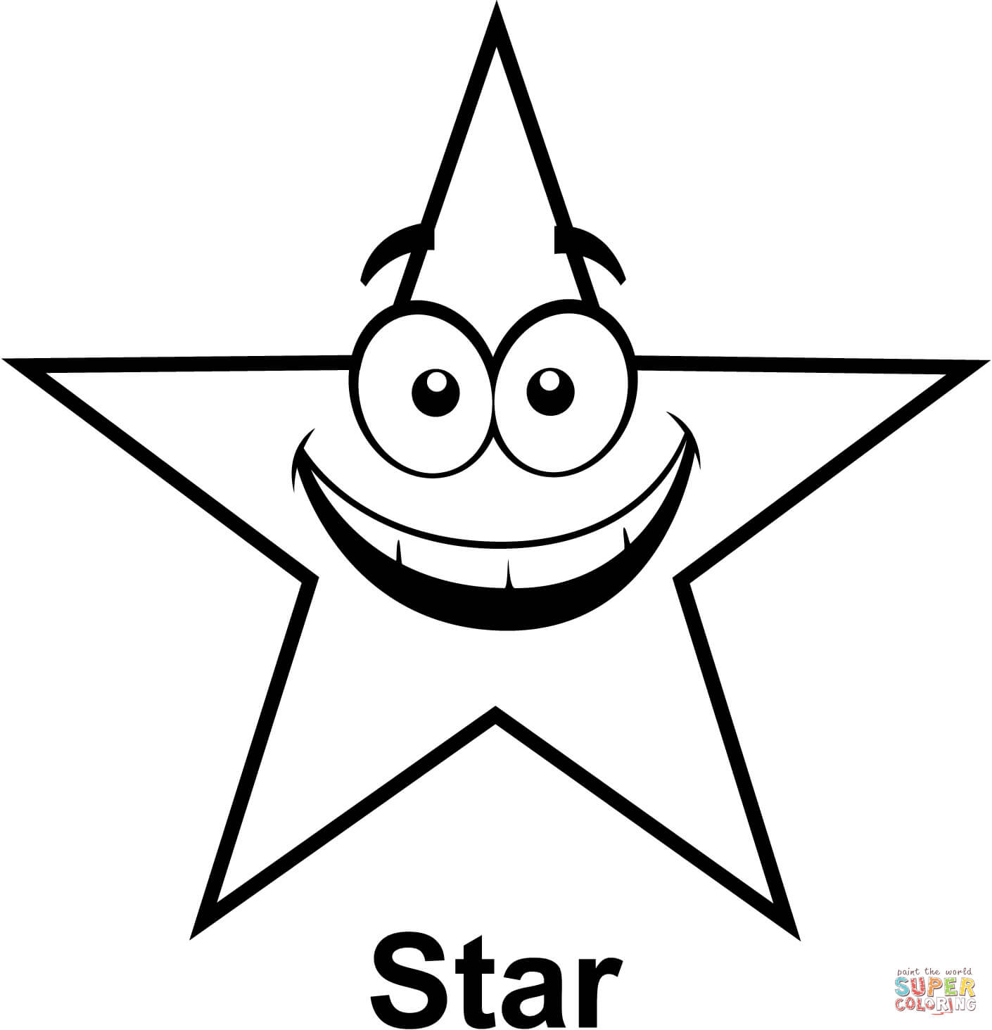Star With Cartoon Face Coloring Page Free Printable Coloring Pages