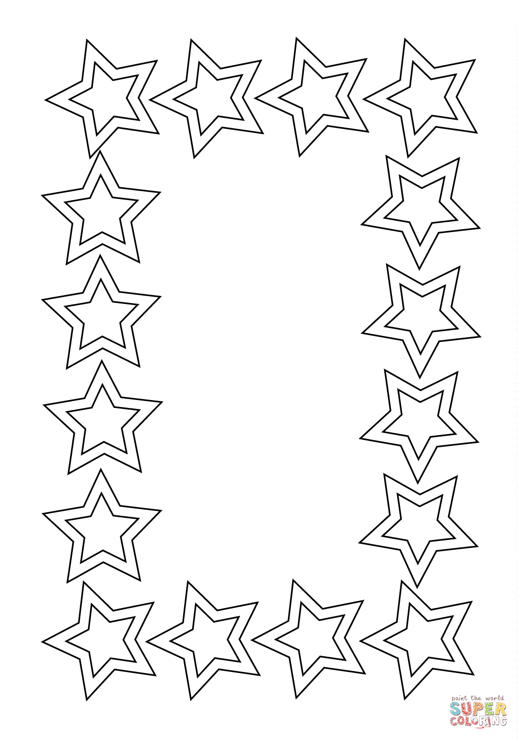 Stars Frame Coloring Page