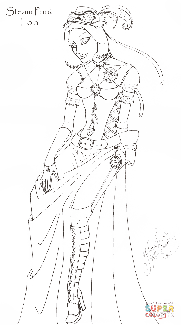 Steam Punk Lola Coloring Page Free Printable Coloring Pages