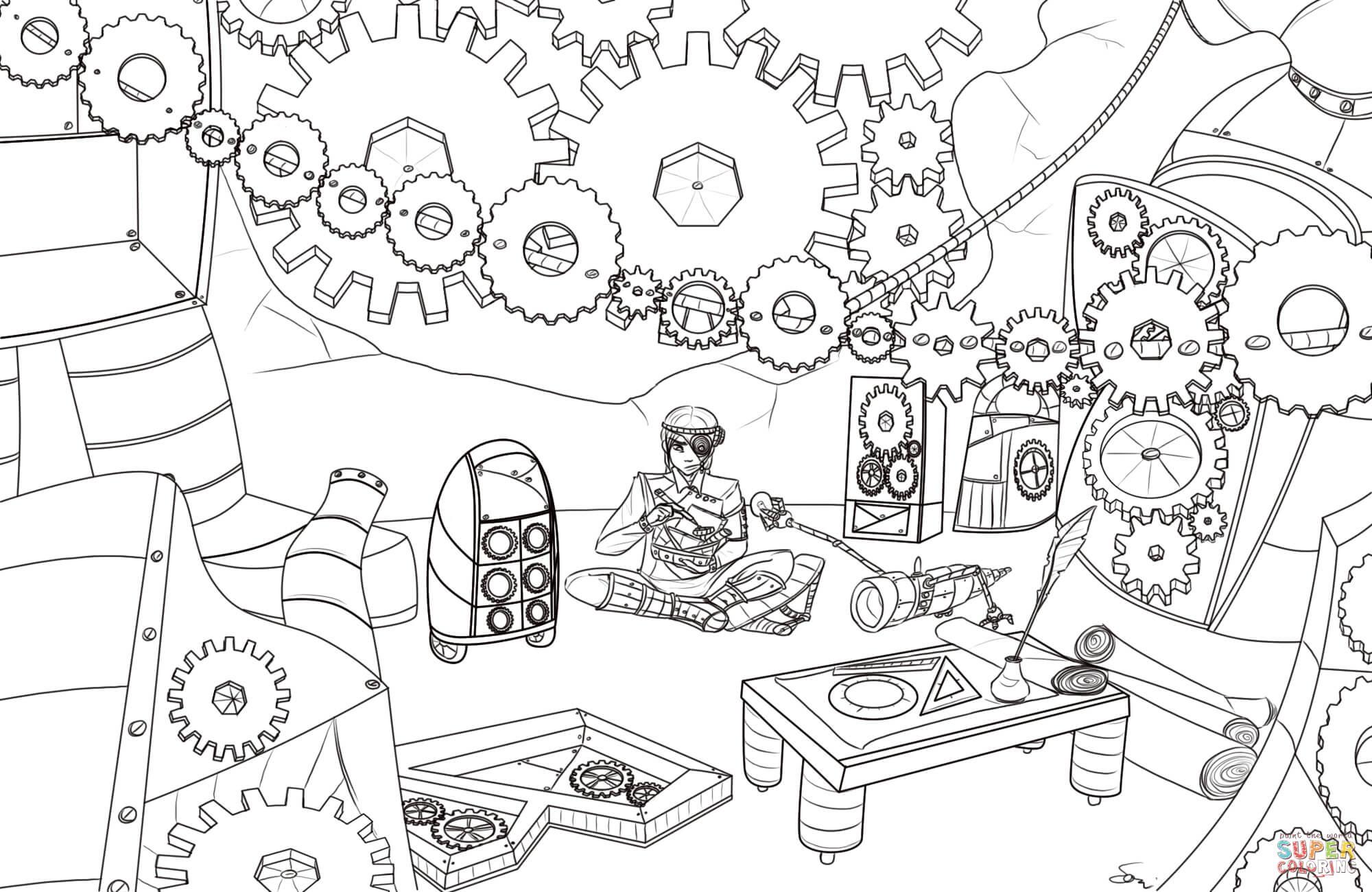 Disegno Di Ingranaggi Steampunk Da Colorare