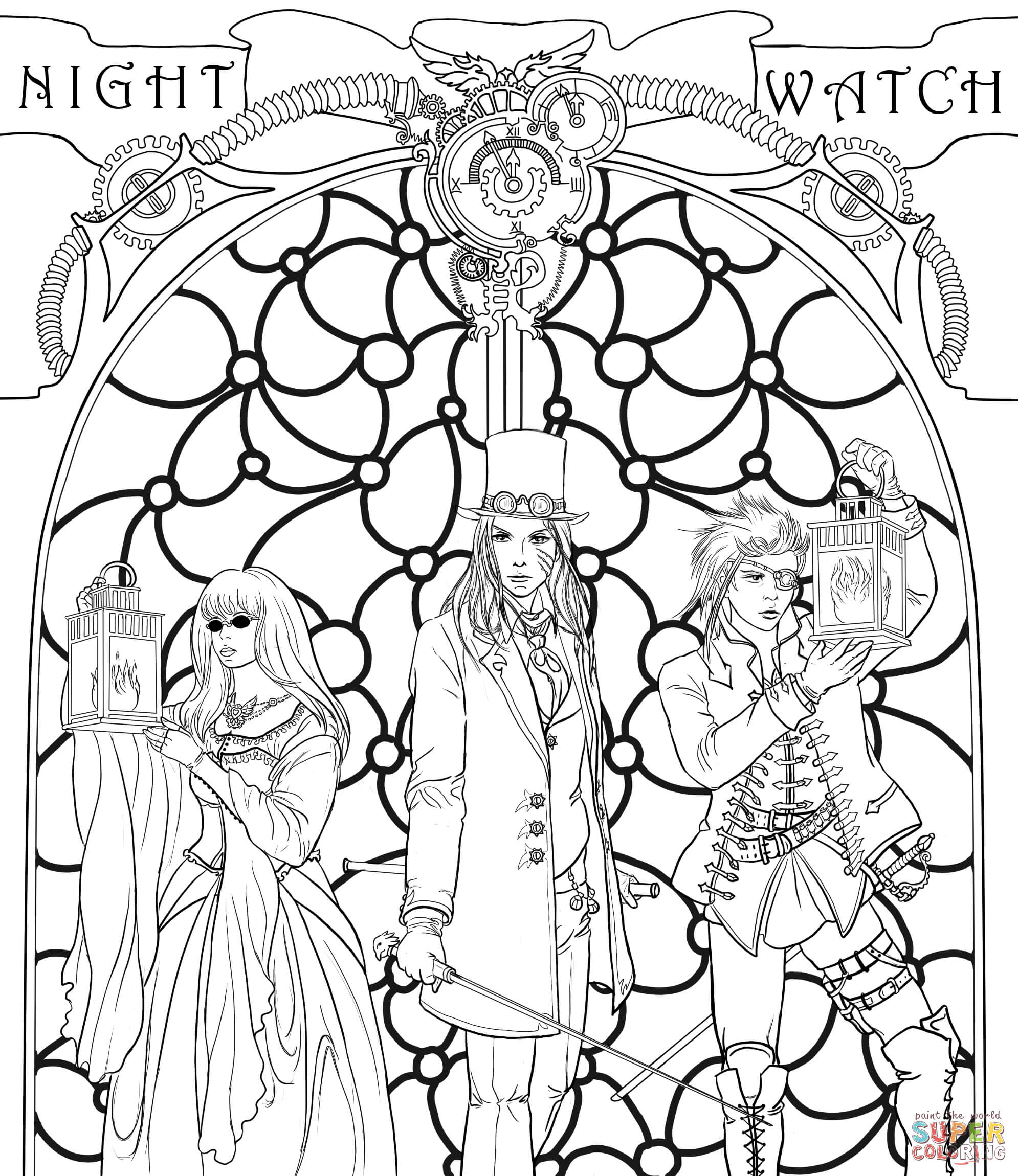 Steampunk Night Watch Crew Coloring Page