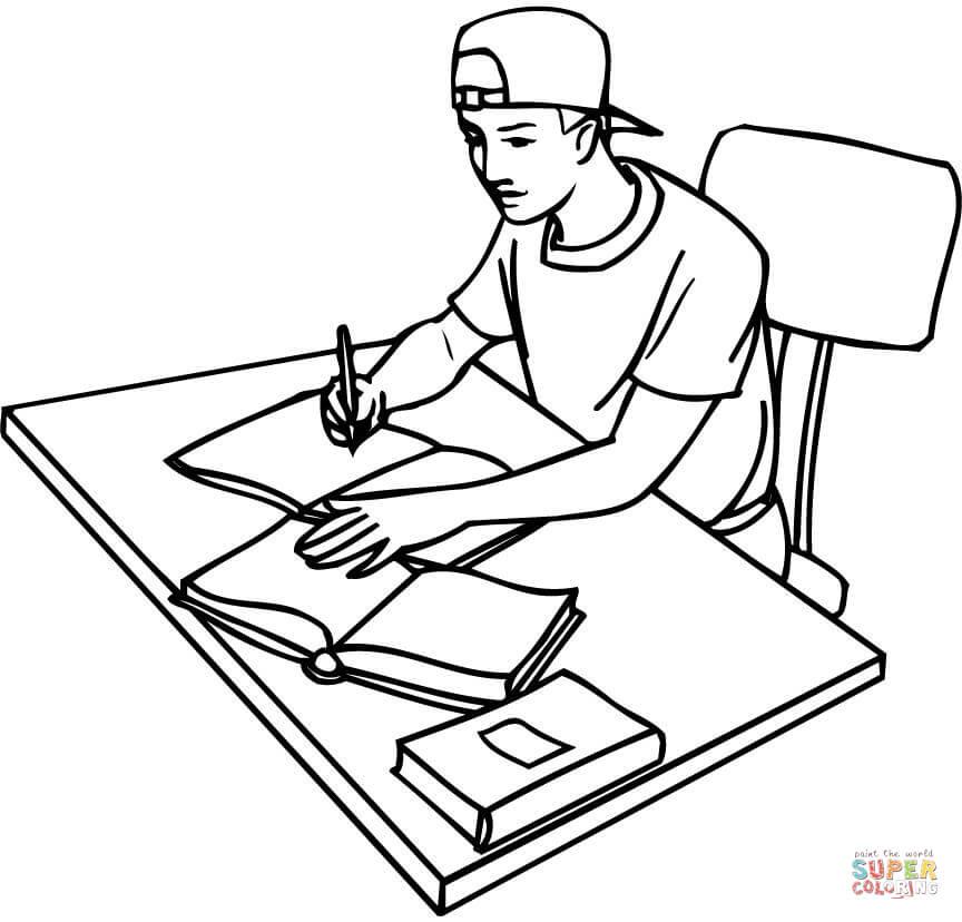 Dibujo de Adolescente Estudiando con Libros para colorear