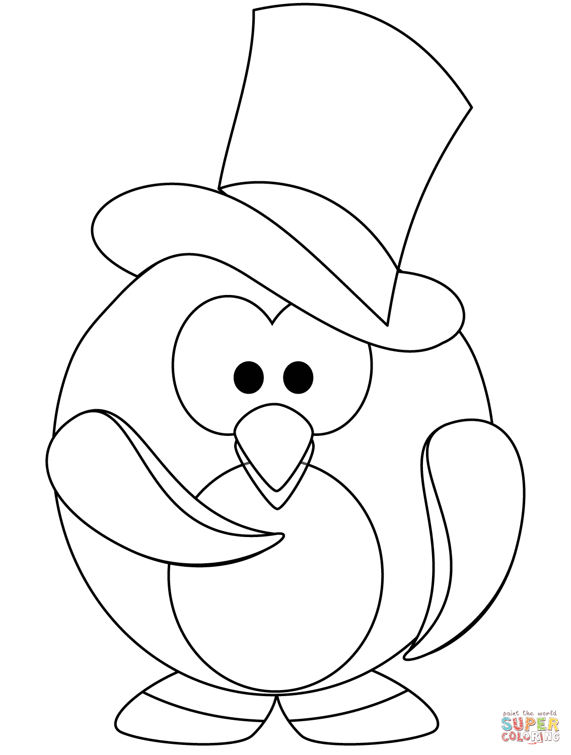 The Gentleman Penguin Coloring Page