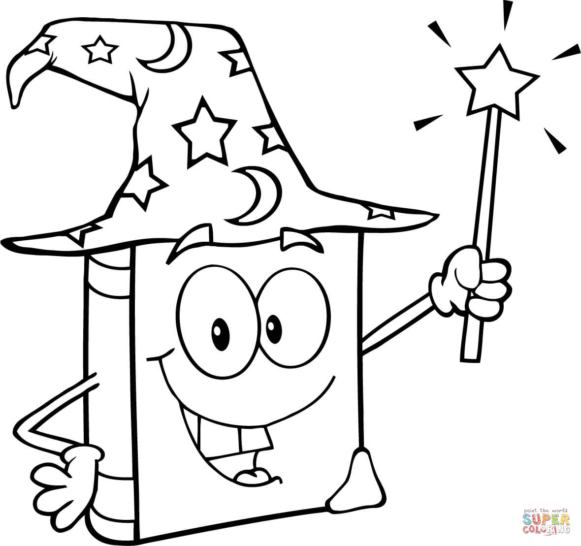 Wizard Book Holding A Magic Wand Coloring Page