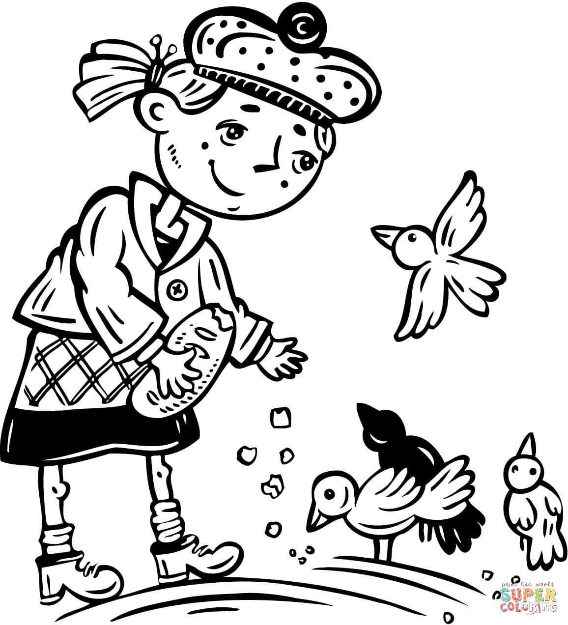 Young Girl Feeding The Birds Coloring Page