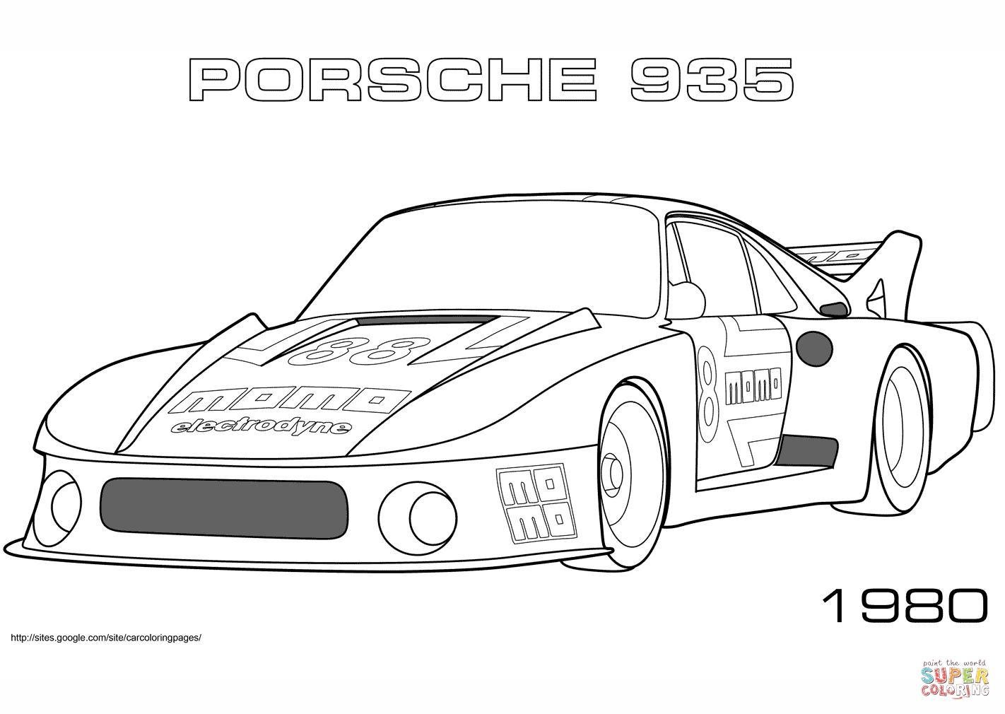 Ausmalbild 1980 Porsche 935 Ausmalbilder kostenlos zum