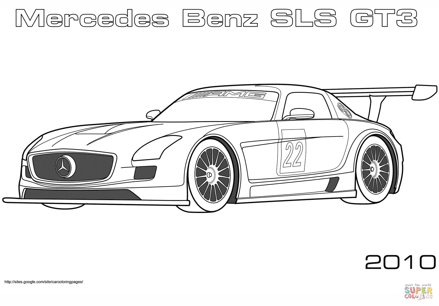 2010 Mercedes Benz Sls Gt3 Coloring Page Free Printable Coloring