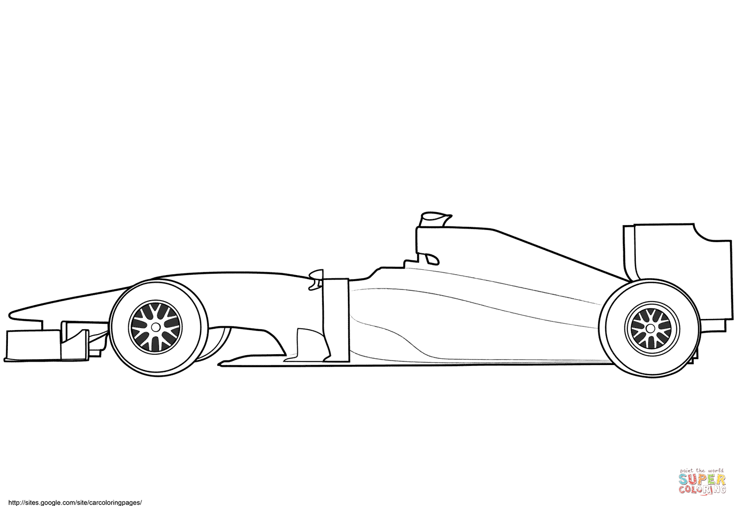 Blank Formula 1 Race Car Coloring Page