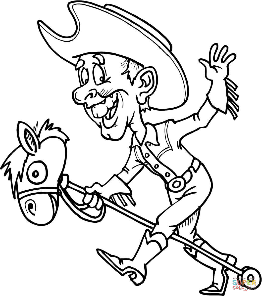 Cowboy On A Toy Horse Coloring Page