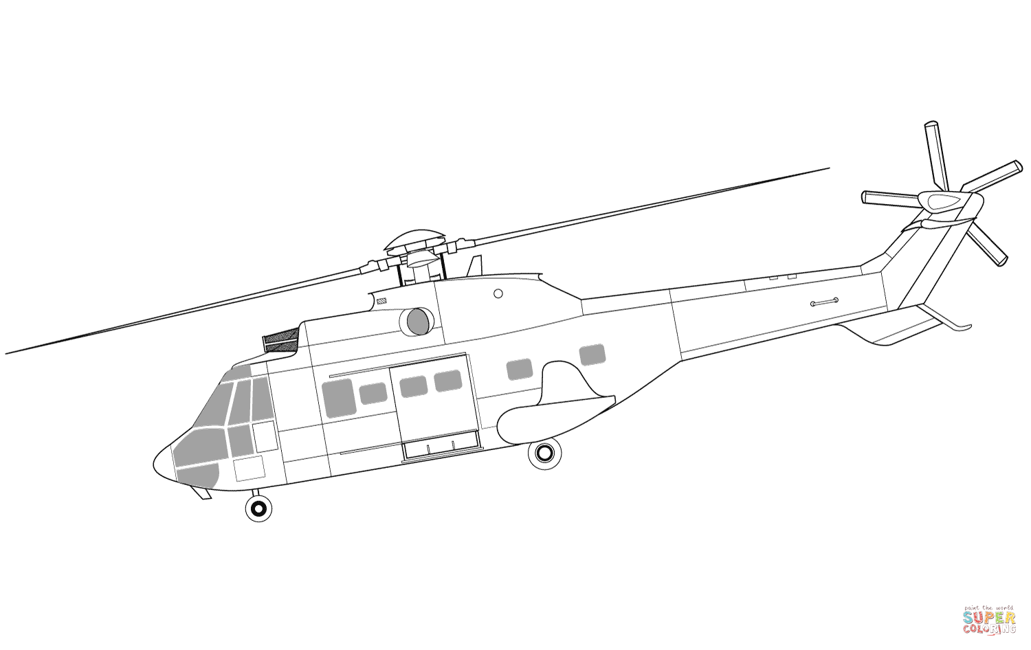 Ausmalbild Eurocopter As332 Super Puma Hubschrauber