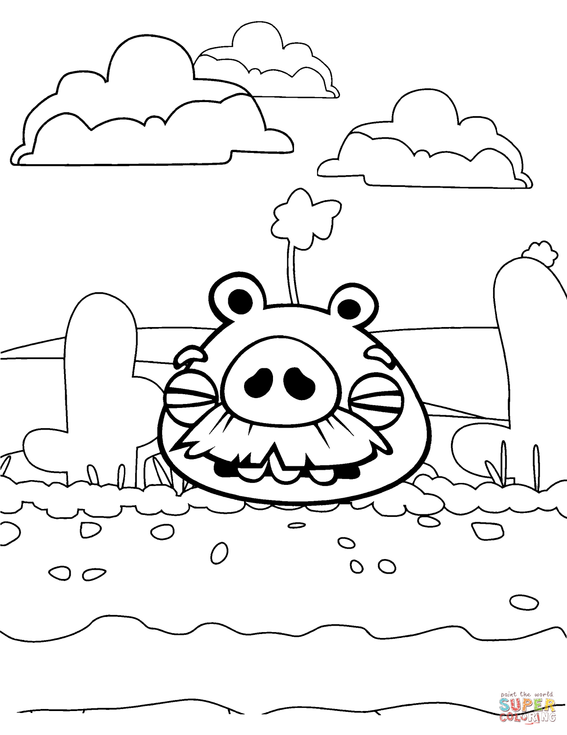 Foreman Pig In Desert Coloring Page