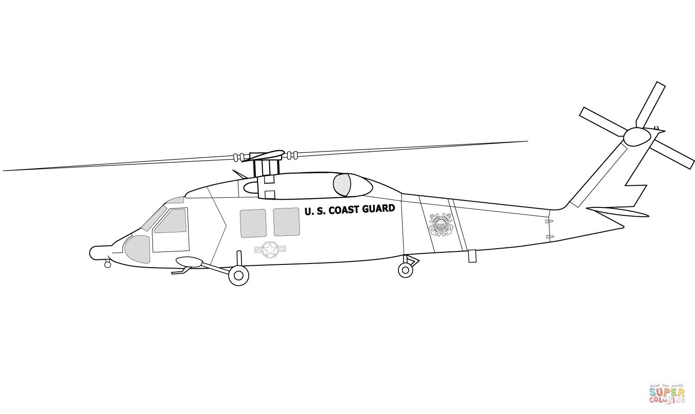 Ausmalbild Hh 60j Us Kustenwache Hubschrauber