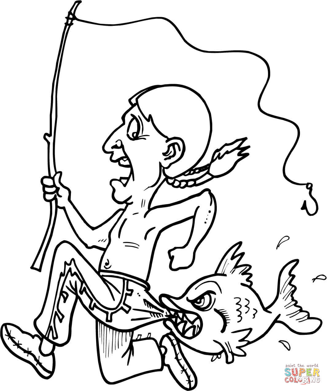 Indian Getting Bit By A Fish Coloring Page