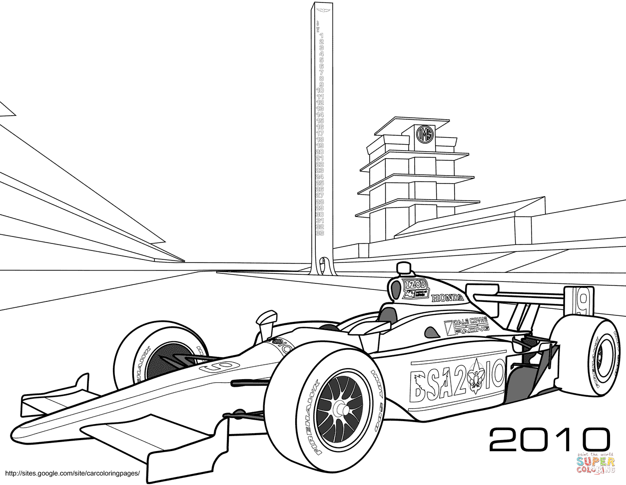 Indy Race Car Coloring Page