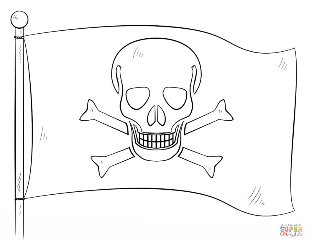 Ausmalbild Jolly Roger Piraten Fahne