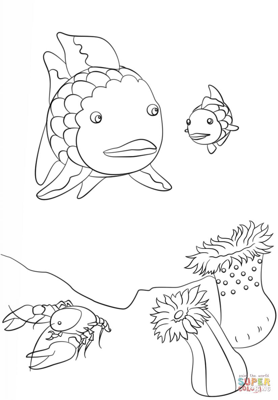 Rainbow Fish Crawfish And Small Fish Coloring Page Free