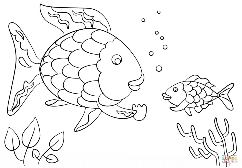 Ausmalbild Regenbogenfisch gibt eine kostbare Schuppe an
