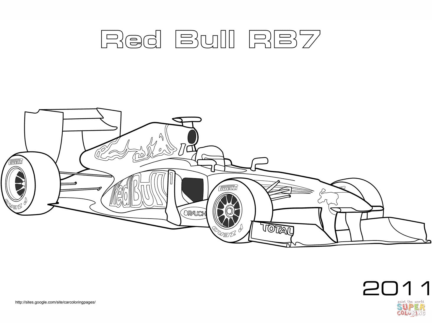 Red Bull Rb7 Formula 1 Auto Kleurplaat