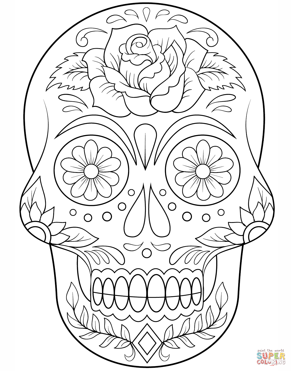 Sugar Skull With Flowers Coloring Page