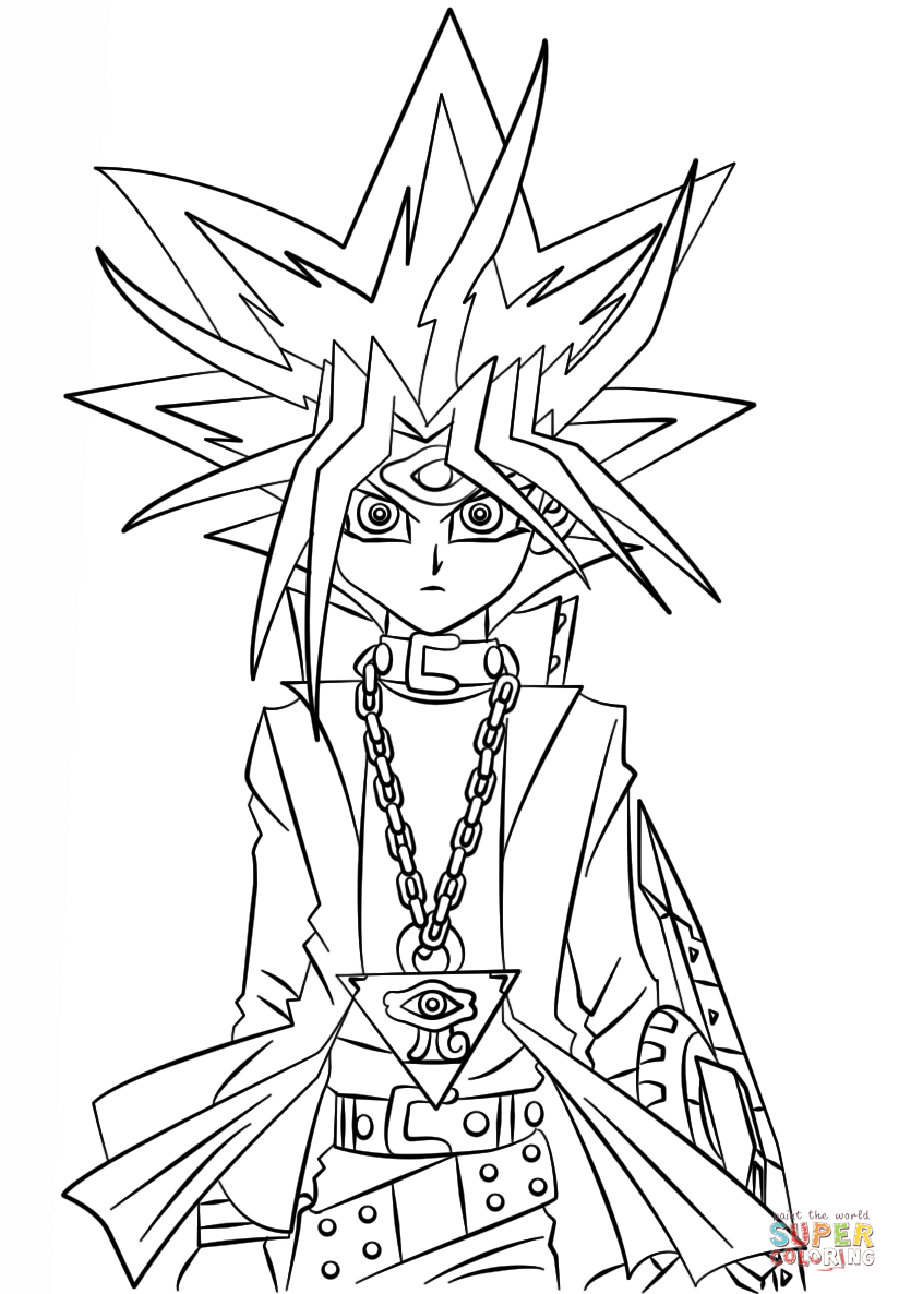 Yugi Muto From Yu Gi Oh Coloring Page Free Printable Coloring Pages