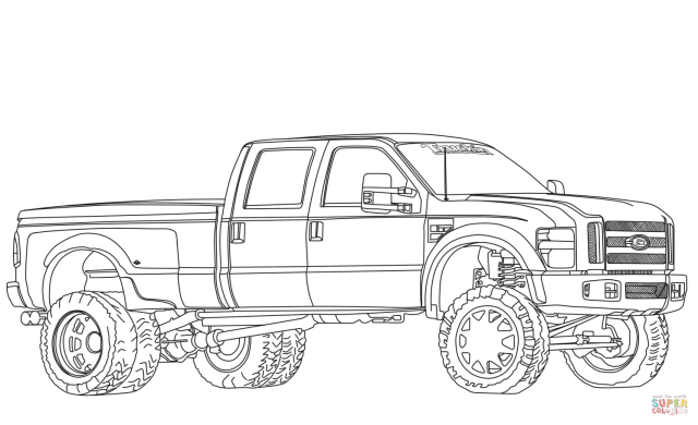 9 Ford F9 Dually Lifted coloring page  Free Printable