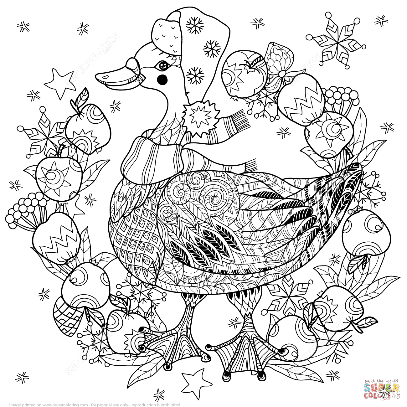 Christmas Goose With Apples Zentangle Coloring Page