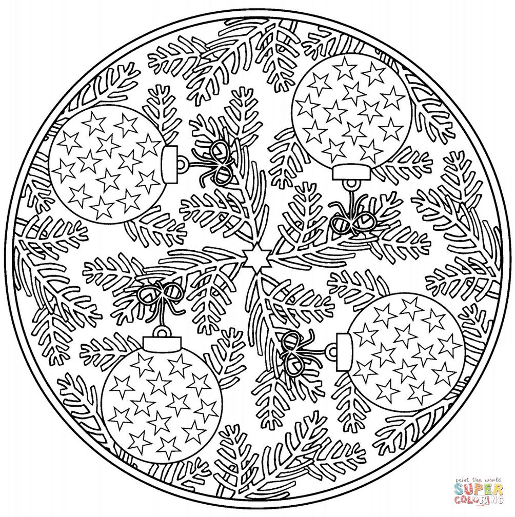Ausmalbild Weihnachts Mandala Mit Christbaumkugeln