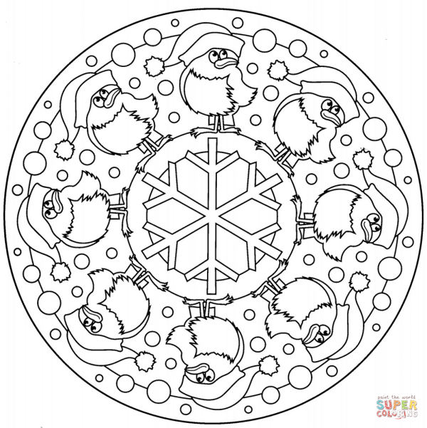 Christmas Mandala with Birds and Snowflake coloring page