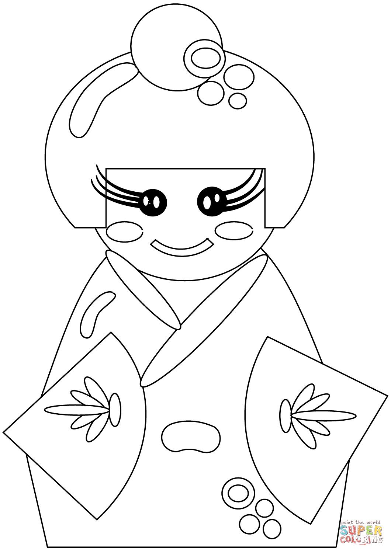 Disegno Di Bambola Giapponese Da Colorare