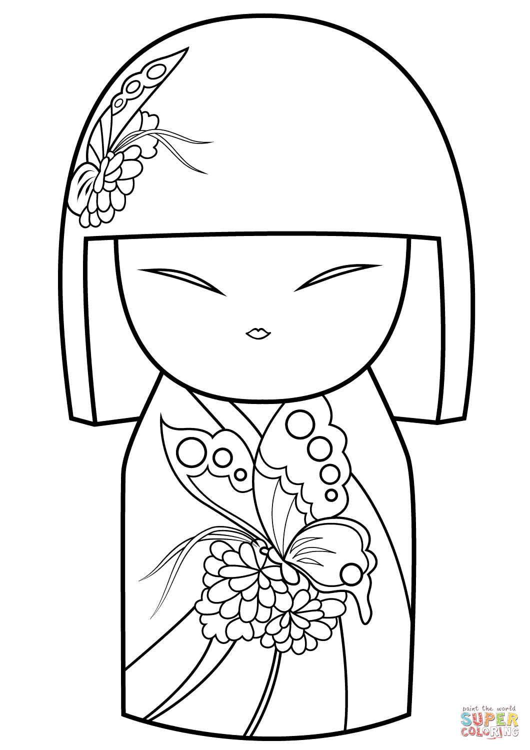 Kimmi Doll With Butterfly Ornament Coloring Page