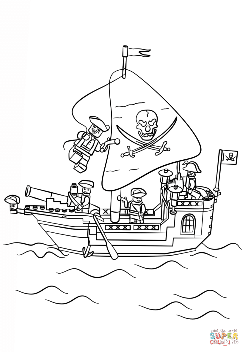 Lego Pirate Ship coloring page | Free Printable Coloring Pages