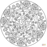 Mandala with Rooster Pattern coloring page | Free ...