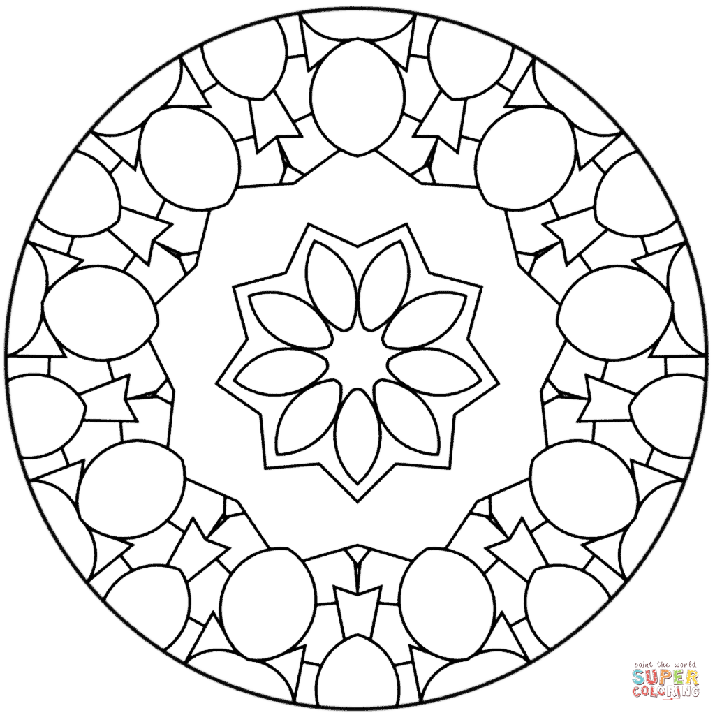 Simple Abstract Mandala Coloring Page
