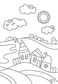 Dibujo de Escena de Pueblo para colorear | Dibujos para ...