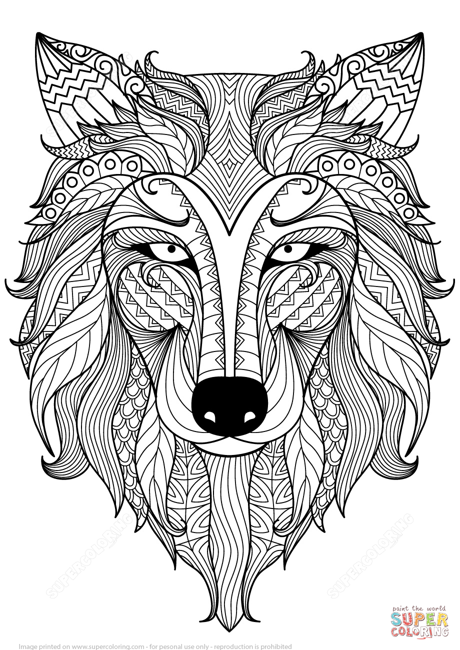 Wolf Zentangle Coloring Page Free Printable Coloring Pages